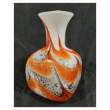 "Glass art vase 9.5"" tall."