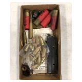 Miscellaneous lot of gun ammunition and magazine.