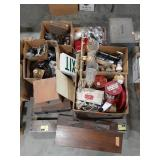 Misc lot of lighting, hardware, boxes, tins and