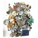 Misc lot of costume jewelry. Lot includes clock