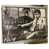 "Framed scarface poster measures 60""L x 40""W"