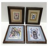 Lot of 4 De Grazia Framed pictures.
