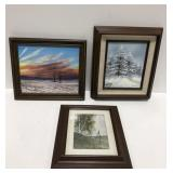 Lot of 3 framed landscape paintings and print.