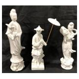 Lot of 3 ceramic ones oriental Asian statues.