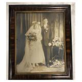 "Antique Framed wedding picture photo 24""x20.5""."