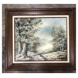 Framed signed Richardson oil on canvas landscape