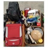 Misc. Lot of luggage items, home decor and