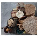 Misc lot of wicker woven baskets and boxes