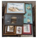 Misc lot of framed art, art prints and samplers.