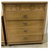 """Wooden dresser with metal handles measures 44""""H x"""