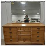 Wooden dresser with mirror, metal handles