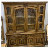Large wooden dining room china hutch measures