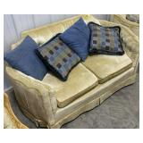 Vintage yellow bowed arm love seat