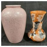 "Lot of two vases. Pink vase is 9.5"" tall, second"