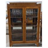 Antique Tiger Oak Leaded Glass Display Cabinet/