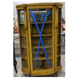 Vintage Oak Curved Glass Bow Front Curio Cabinet.