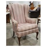 Accent chair, wing back, mauve stripping,