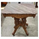 Victorian Blush Marble-Top Parlor Table, on