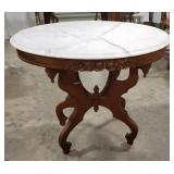 Vintage Mahogany Carved Marble Top Oval Table