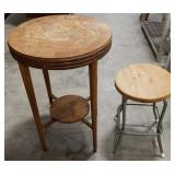 """Circular side table 19""""x27"""" and a short stool"""