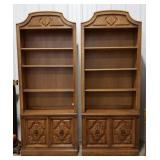 2 Drexel book cases, matching,  shelving and