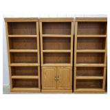 3 piece book shelf entertainment unit, shelving