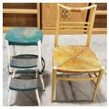 """A vintage  Cosco step stool, tallest-24"""" and a"""