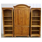 Television entertainment unit w/ shelving on both