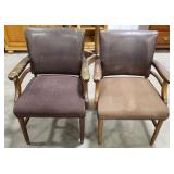2 brown upholstered chairs, w/ faux leather