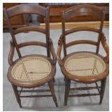 """2 Antique chair w/ cane seating, sits about 17"""""""