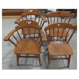 """4 wooden chairs, spindle back, sits at 17"""", 2"""