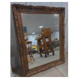 Wooden carved hanging mirror, approximately