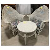 Set of White Outdoor Wicker Table and Chairs