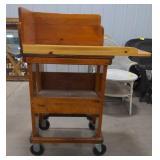 "Wooden utility cart, on wheels, 37""x19""x47"""