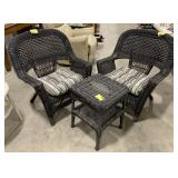 Set of Plastic Outdoor Wicker Table and Chairs