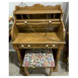 """Wooden Folding Desk with Stool measures 28"""" x 17"""""""