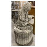 Girl on Pillar Concrete Garden Statue