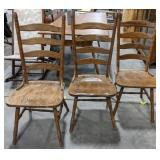 """3 wooden chairs, seat is 18"""", ladder back"""