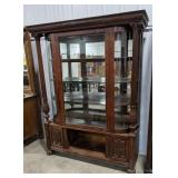 Curved curio/china cabinet, mirrored backing,