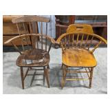 2 wooden spindle back chairs, both have arm