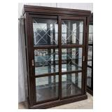 Wooden/glass display unit, mirrored backing,