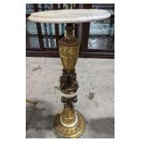 Vintage Marble glass and cast iron side