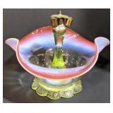 Vintage glass Victorian Epergne. Fenton style