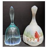 Two Fenton marked glass bell. Blue opalescent