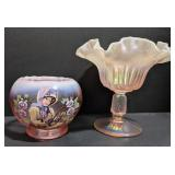 Two Fenton marked pink glass dishes. One 3.5 inch