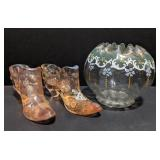 Lot of two Fenton marked glass shoes and a