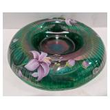 Fenton marked peacock green flowered bowl on