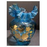 Fenton-style, Clear blue glass hurricane with