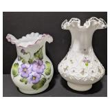 Lot of two vases. Taller case is marked Fenton