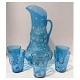 Glass pitcher and five glasses. Pitcher and